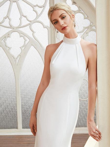 Sheath \ Column Wedding Dresses Halter Neck Court Train Chiffon Satin Regular Straps Simple Backless Elegant_5
