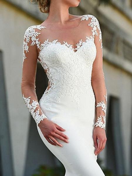Mermaid \ Trumpet Wedding Dresses Jewel Neck Sweep \ Brush Train Polyester Long Sleeve Sexy Backless Illusion Sleeve_2