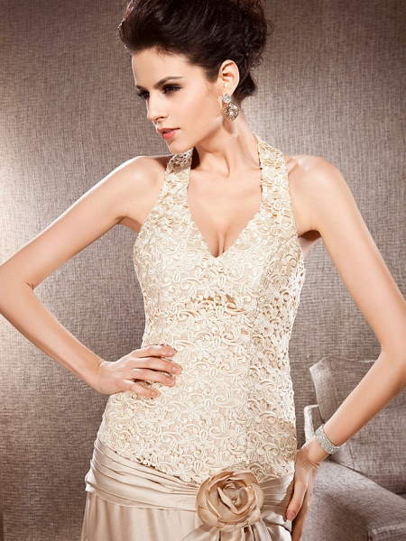 Princess A-Line Wedding Dresses V Neck Chapel Train Lace Satin Sleeveless Wedding Dress in Color_3
