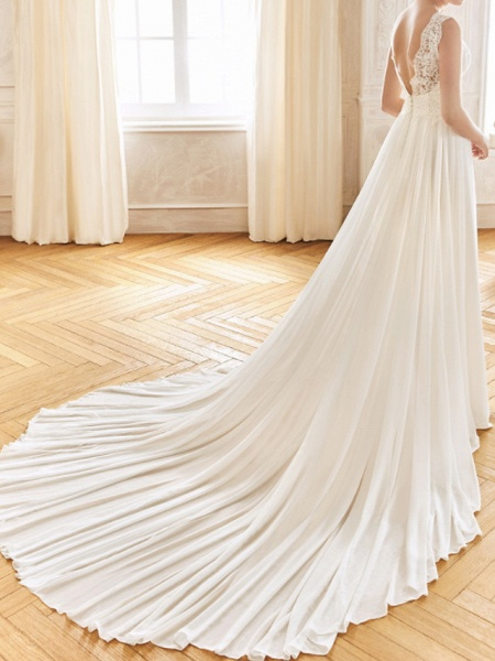 A-Line Wedding Dresses V Neck Sweep \ Brush Train Chiffon Lace Sleeveless Vintage Sexy Wedding Dress in Color See-Through Backless_3