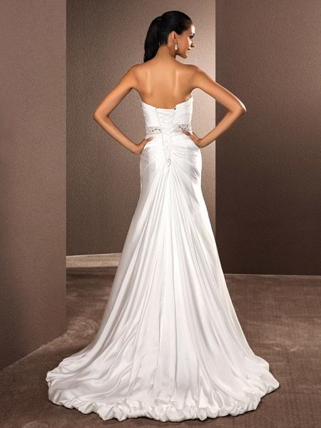 A-Line Wedding Dresses Sweetheart Neckline Court Train Satin Chiffon Strapless_2