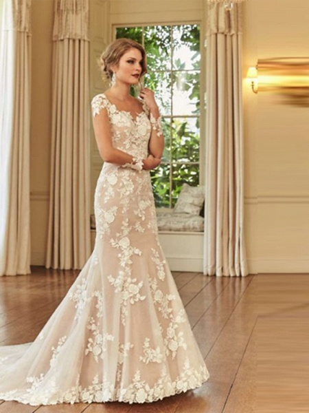 Mermaid \ Trumpet Wedding Dresses Jewel Neck Court Train Lace Long Sleeve Romantic See-Through Illusion Sleeve_3