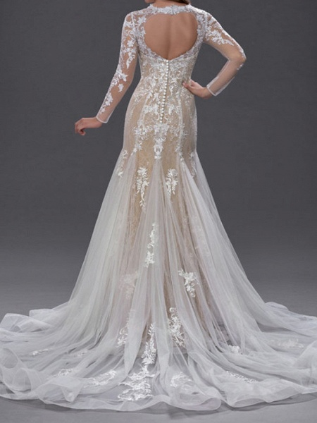 Mermaid \ Trumpet Jewel Neck Chapel Train Lace Tulle Long Sleeve Sexy See-Through Wedding Dresses_3