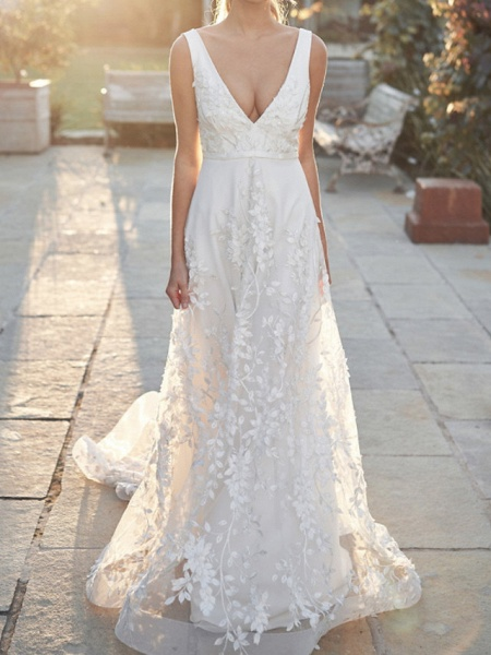 A-Line V Neck Court Train Tulle Sleeveless Country Wedding Dress in Color Wedding Dresses_1