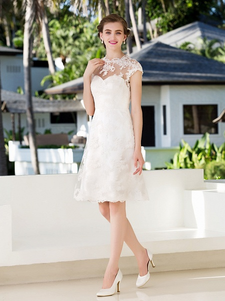 A-Line Sheath \ Column Wedding Dresses Jewel Neck Knee Length Floral Lace Cap Sleeve Vintage Little White Dress Illusion Detail Backless_3