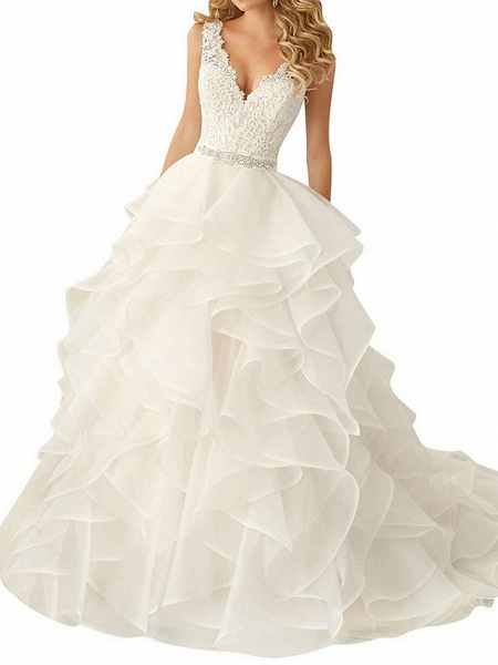 A-Line Wedding Dresses V Neck Sweep \ Brush Train Polyester Regular Straps Glamorous Backless