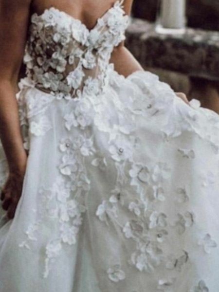 A-Line Wedding Dresses Strapless Sweep \ Brush Train Lace Tulle Sleeveless Beach Sexy Backless_3