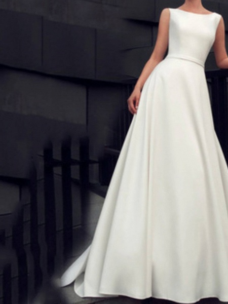 A-Line Wedding Dresses Jewel Neck Floor Length Satin Sleeveless Beach_1