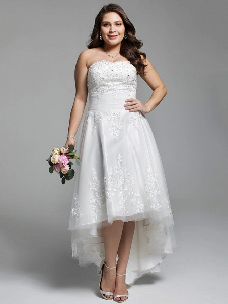 A-Line Wedding Dresses Strapless Asymmetrical Lace Tulle Strapless Little White Dress Open Back_1