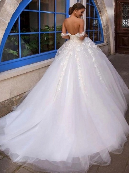Ball Gown Off Shoulder Court Train Lace Tulle Short Sleeve Country Romantic Illusion Detail Backless Wedding Dresses_2