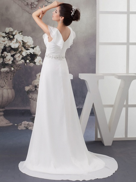A-Line V Neck Court Train Chiffon Satin Spaghetti Strap Wedding Dresses_3