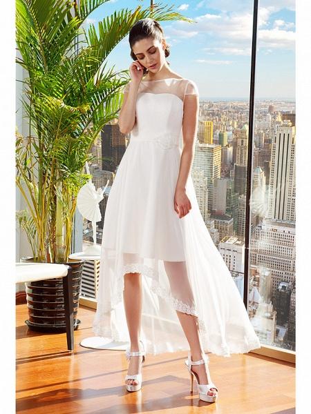 A-Line Wedding Dresses Bateau Neck Asymmetrical Chiffon Cap Sleeve Casual Vintage See-Through Backless_3
