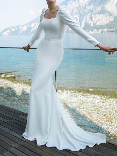 Mermaid \ Trumpet Wedding Dresses Scoop Neck Sweep \ Brush Train Chiffon Over Satin Long Sleeve Country Plus Size_1