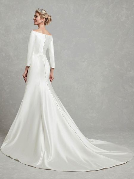 Mermaid \ Trumpet Wedding Dresses Bateau Neck Chapel Train Satin Long Sleeve Formal Little White Dress_5