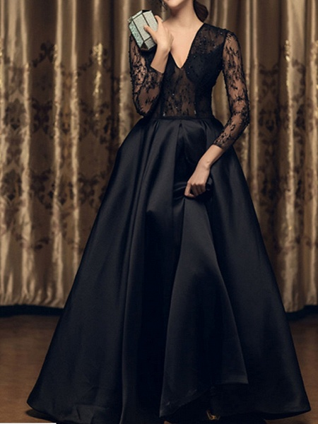 A-Line Wedding Dresses V Neck Floor Length Lace 3\4 Length Sleeve Formal Black Modern Illusion Sleeve_2