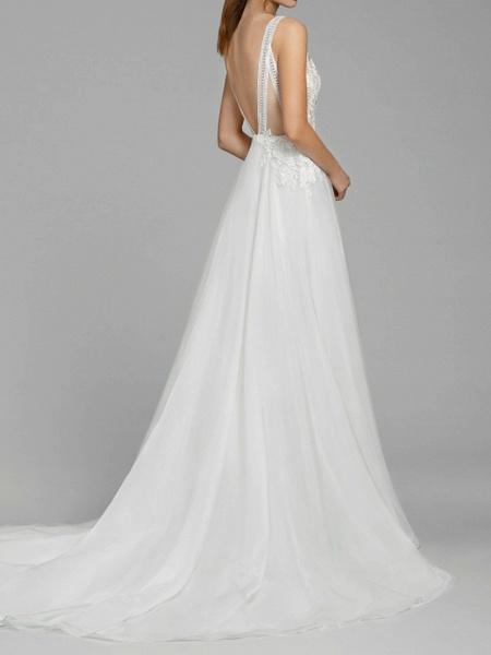 A-Line Wedding Dresses V Neck Sweep \ Brush Train Chiffon Lace Spaghetti Strap Illusion Detail Backless_3