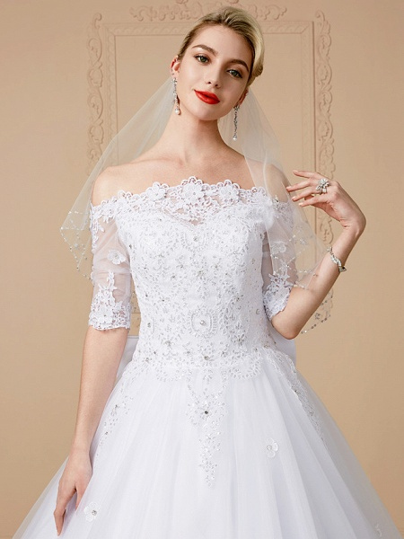 Ball Gown Wedding Dresses Off Shoulder Court Train Lace Tulle Half Sleeve Sparkle & Shine Open Back Cute_5