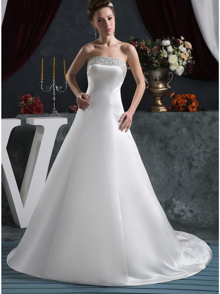 A-Line Strapless Court Train Satin Strapless Wedding Dresses_1