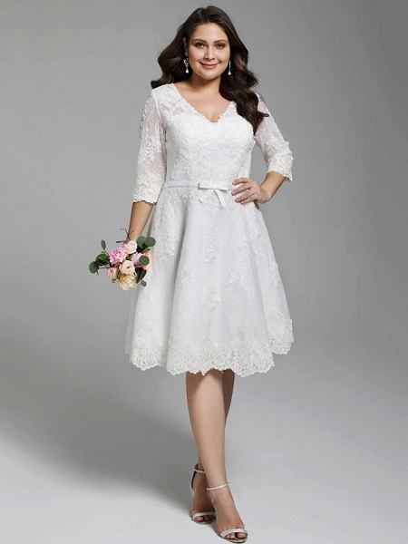 A-Line Wedding Dresses V Neck Knee Length All Over Lace 3\4 Length Sleeve Casual Vintage See-Through Illusion Detail Backless_1