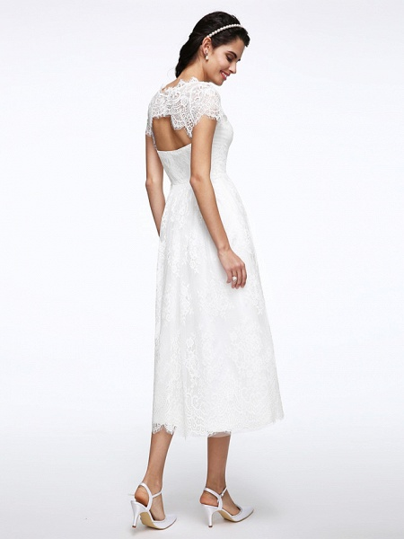 A-Line Wedding Dresses Jewel Neck Tea Length Lace Short Sleeve Simple Casual Illusion Detail Backless_2
