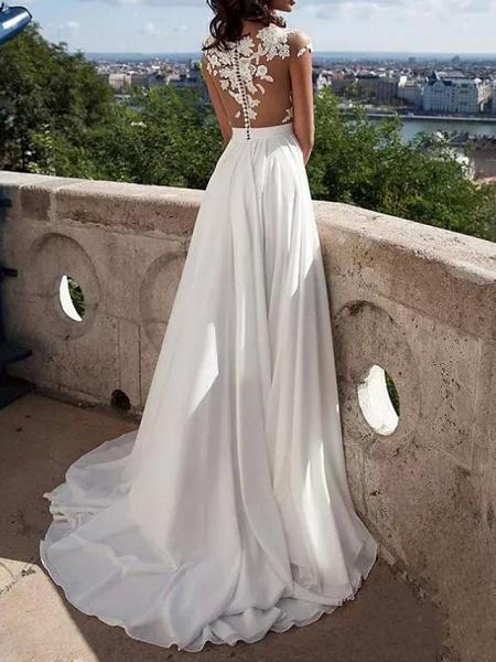 A-Line Wedding Dresses Jewel Neck Sweep \ Brush Train Lace Stretch Satin Cap Sleeve Casual Beach Boho Plus Size_3