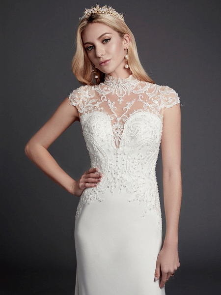 Mermaid \ Trumpet Wedding Dresses High Neck Court Train Lace Satin Sleeveless Sexy See-Through Illusion Detail Backless_6