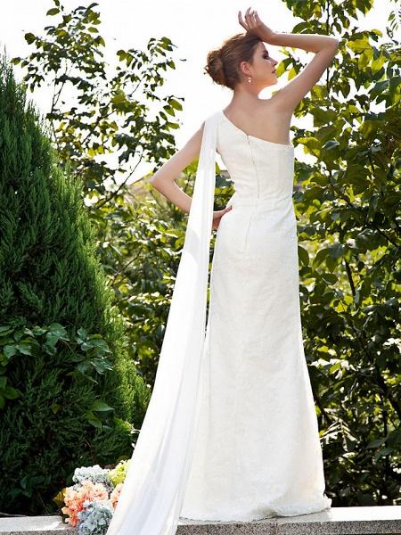 Mermaid \ Trumpet Wedding Dresses One Shoulder Sweep \ Brush Train Lace Sleeveless_2