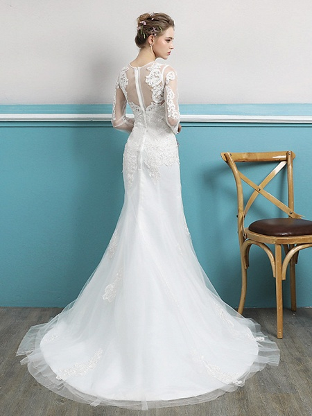 Mermaid \ Trumpet Wedding Dresses Jewel Neck Court Train Lace Tulle Polyester Long Sleeve Sexy Illusion Sleeve_3