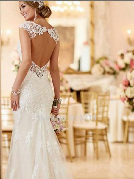 Mermaid \ Trumpet Wedding Dresses V Neck Sweep \ Brush Train Lace Spaghetti Strap Mordern Sexy Backless_4