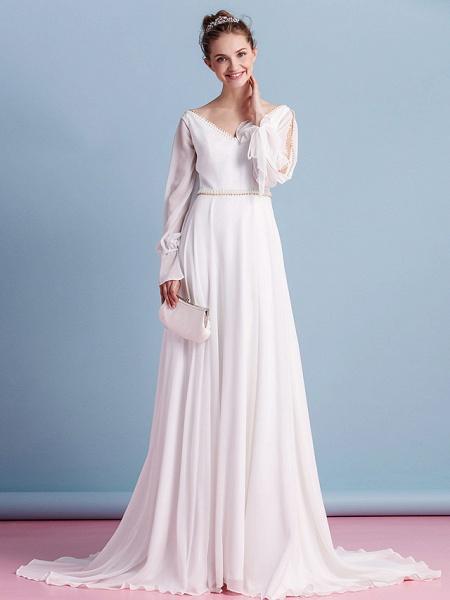 Sheath \ Column Wedding Dresses V Neck Court Train Chiffon Long Sleeve_5