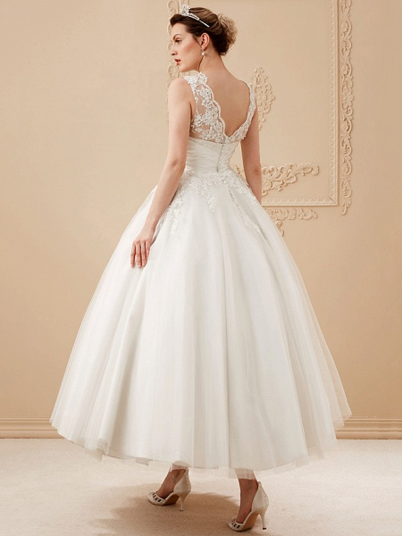 A-Line Wedding Dresses High Neck Ankle Length Lace Over Tulle Regular Straps Vintage Little White Dress Illusion Detail_10