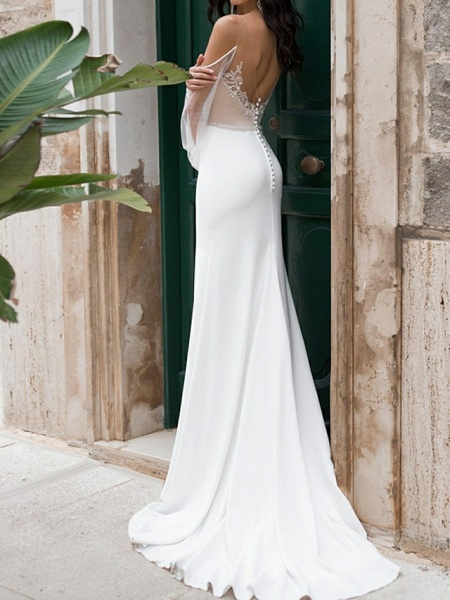 Mermaid \ Trumpet Wedding Dresses Sweetheart Neckline Sweep \ Brush Train Polyester Long Sleeve Romantic See-Through Illusion Detail Backless_3