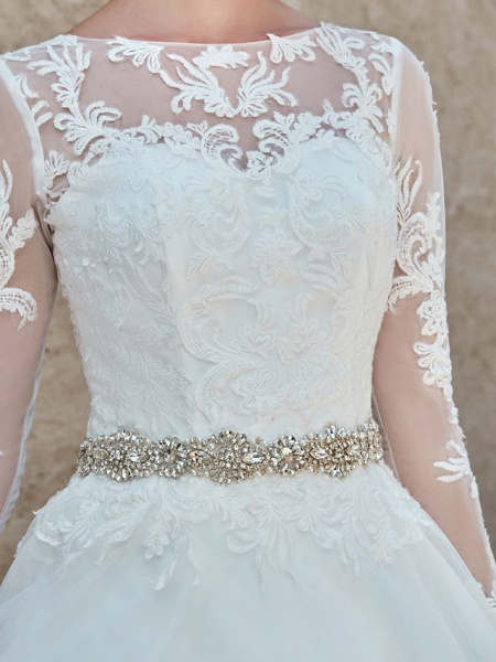 Ball Gown Wedding Dresses Bateau Neck Chapel Train Lace Tulle Long Sleeve Beautiful Back Illusion Sleeve_18