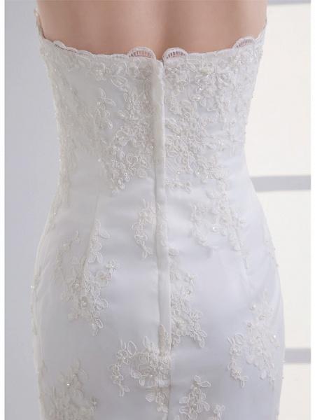 Mermaid \ Trumpet Strapless Court Train Lace Satin Tulle Strapless Wedding Dresses_5