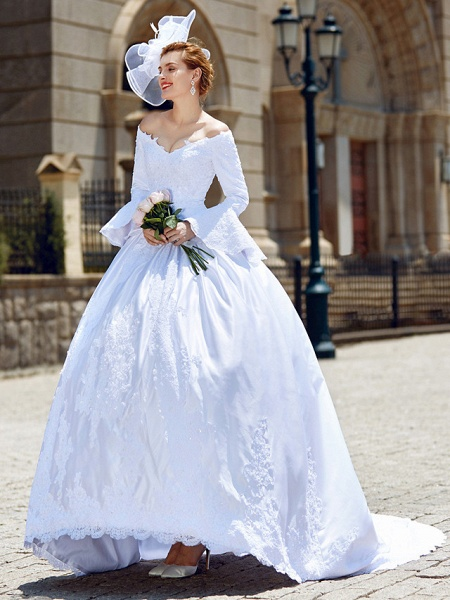 Ball Gown V Neck Chapel Train Satin Long Sleeve Wedding Dresses_1