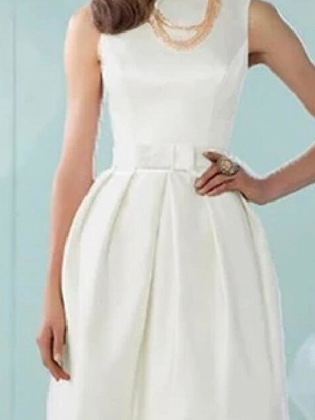 A-Line Wedding Dresses Jewel Neck Knee Length Cotton Sleeveless Vintage Little White Dress_3