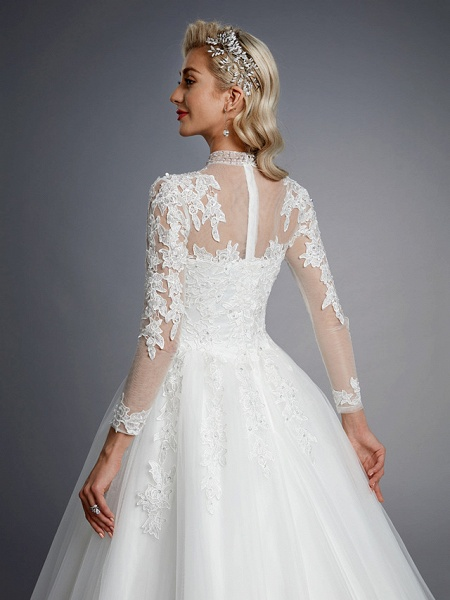 Ball Gown High Neck Court Train Lace Tulle Long Sleeve Romantic Plus Size Illusion Sleeve Wedding Dresses_9