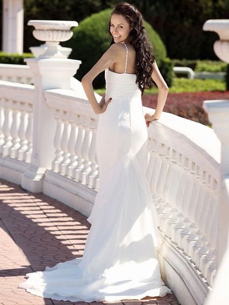 Mermaid \ Trumpet Wedding Dresses V Neck Spaghetti Strap Court Train Chiffon Satin Sleeveless_3