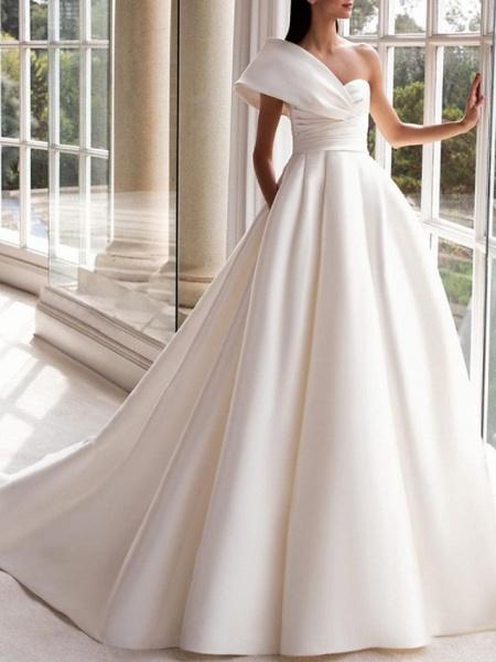 A-Line Wedding Dresses One Shoulder Sweep \ Brush Train Satin Short Sleeve Simple_1