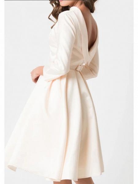 A-Line Wedding Dresses Jewel Neck Knee Length Charmeuse 3\4 Length Sleeve Vintage Little White Dress 1950s Cute_1