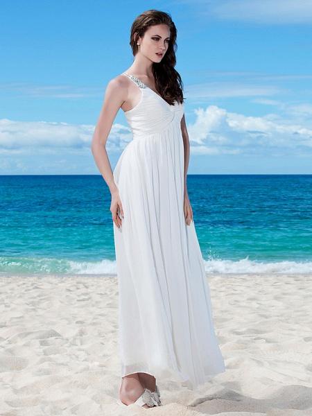 A-Line Wedding Dresses V Neck Floor Length Chiffon Regular Straps Casual Beach Backless_3