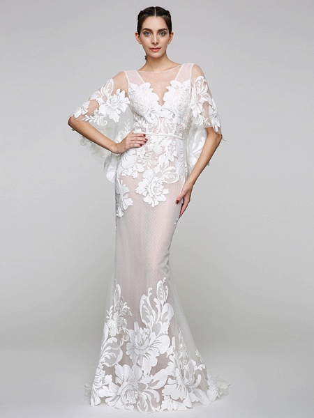 Mermaid \ Trumpet Wedding Dresses V Neck Sweep \ Brush Train Tulle Sheer Lace Lace Over Tulle Half Sleeve Sexy See-Through Illusion Detail Backless_2