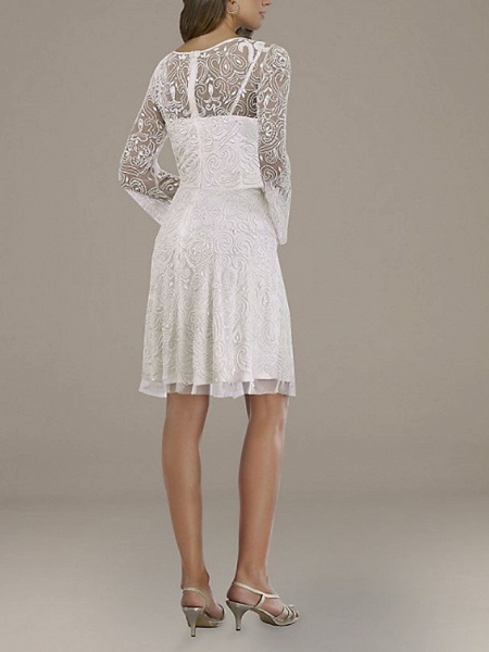 A-Line Wedding Dresses V Neck Short \ Mini Lace Tulle Long Sleeve Country Plus Size_2