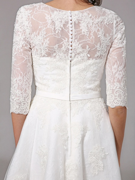 A-Line Wedding Dresses V Neck Knee Length All Over Lace 3\4 Length Sleeve Formal Casual Vintage Cute Illusion Sleeve_11
