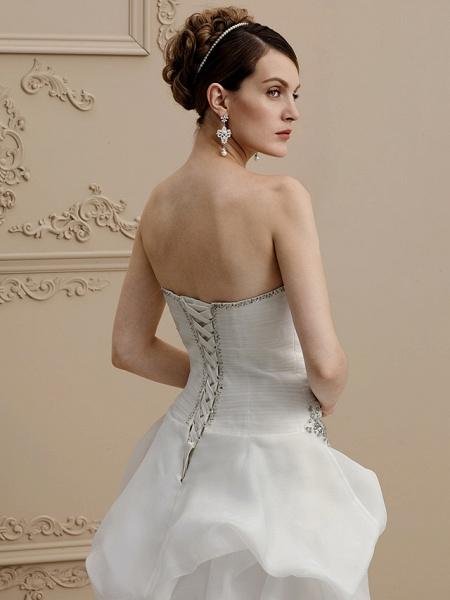 A-Line Wedding Dresses Strapless Asymmetrical Organza Sleeveless Open Back_5