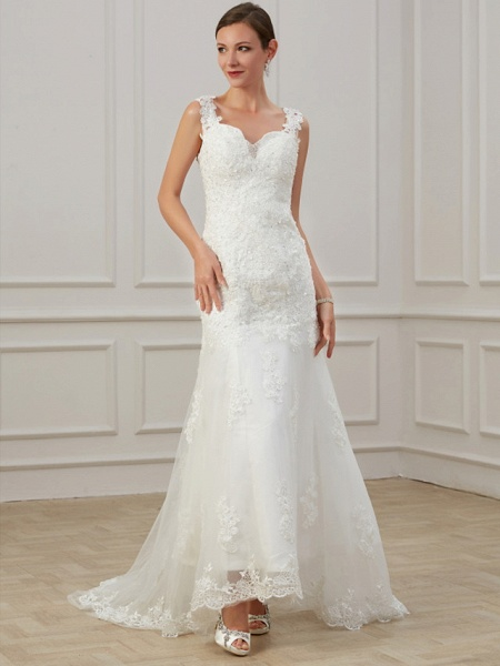 Sheath \ Column Wedding Dresses V Neck Floor Length Lace Tulle Sleeveless Formal Illusion Detail Plus Size_2