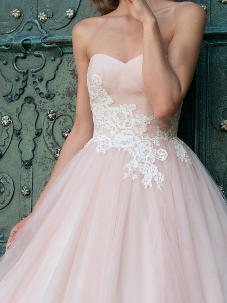 A-Line Wedding Dresses Strapless Sweep \ Brush Train Lace Taffeta Tulle Sleeveless Country Plus Size_4