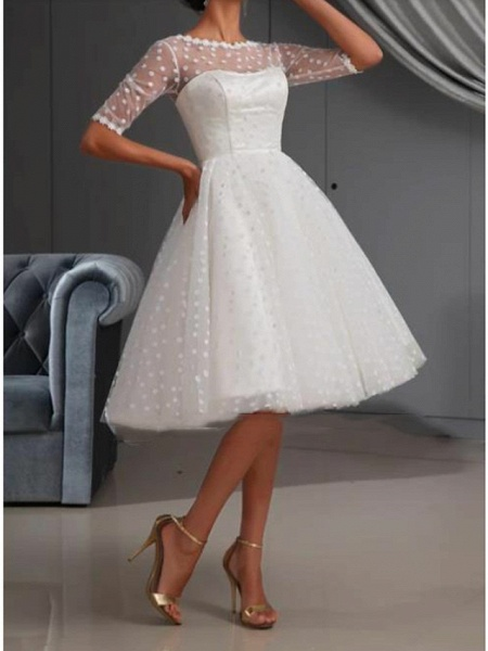 A-Line Wedding Dresses Jewel Neck Knee Length Lace Tulle Short Sleeve Casual Vintage See-Through Cute Illusion Sleeve_2