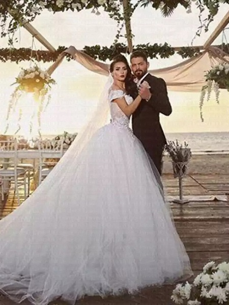 Ball Gown Off Shoulder Chapel Train Lace Tulle Strapless Beautiful Back Wedding Dresses_3
