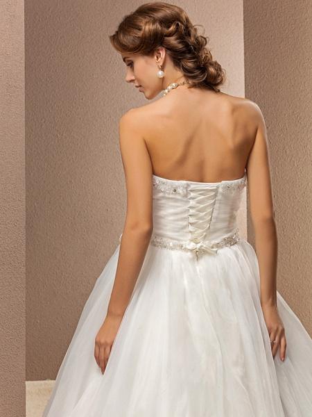 Ball Gown Wedding Dresses Strapless Floor Length Tulle Sleeveless_6